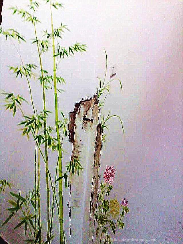 楼梯背景墙竹菊画-无锡时光剪手绘艺术工作室的设计师家园-484527