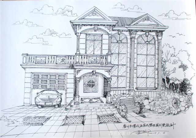 《别墅整体外建筑手绘方》-设计师:尹华